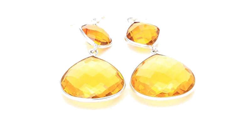 Pendientes de cuarzo amarillo citrino